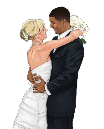 Interracial Bride and Groom Drawing
