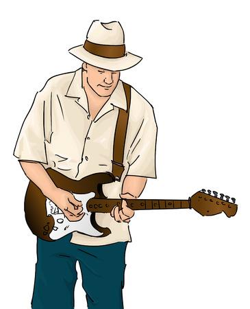 man playing guitar: Blues Musician with Guitar