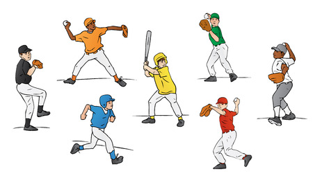 throw up: Little League Baseball Players Illustration