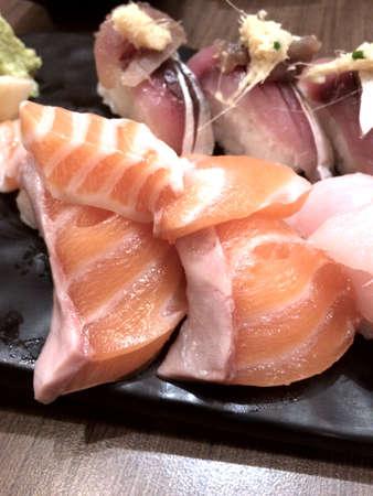 nigiri: Salmon nigiri sushi  Stock Photo