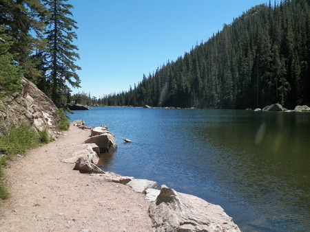 dream lake: Dream Lake in Colorado Stock Photo