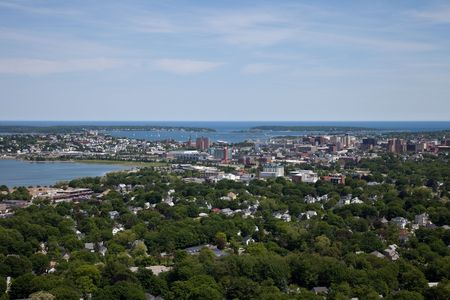 Portland Maine Aerial taken from a Helicopter Stock Photo