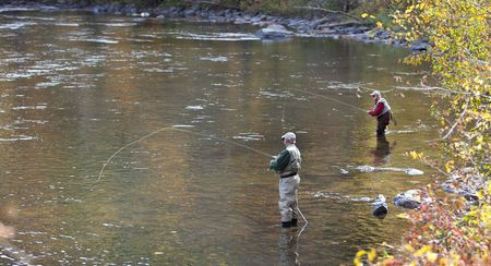 Pair of Anglers Fly Fishing