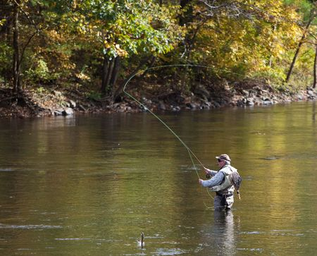 fishing pole: Fly Fishing in a River Stock Photo