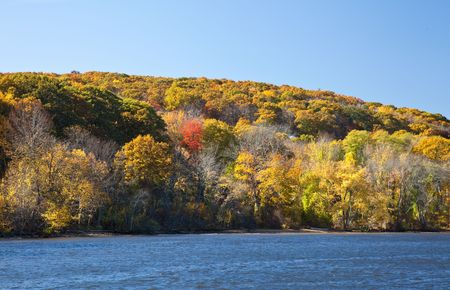 Colorful Hillside along the Connecticut River showing Fall Colors