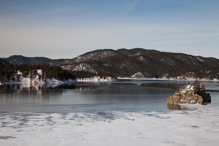 ice dam: Pactola Dam in the Black Hills of South Dakota