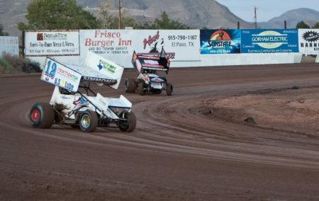 EL PASO – AUGUST 19:  Sprint Cars race on the dirt track at the El Paso Speedway Park on August 19, 2011 in El Paso, Texas.