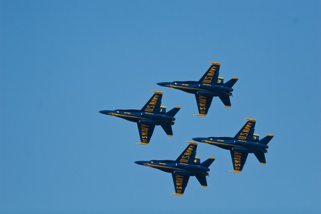 EL PASO – OCTOBER 22:  Blue Angels put on an aerial display at Fort Bliss, Biggs Airfield, during the 30th Anniversary Amigo Airsho on October 22, 2011 at El Paso, Texas.  Stock Photo - 10950773
