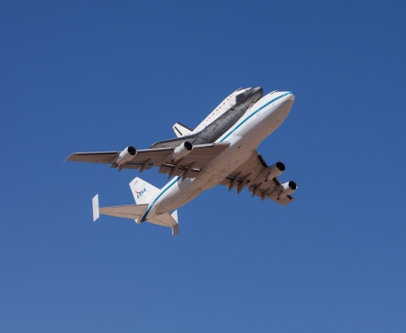 EL PASO � SEPTEMBER 20.  Space shuttle Endeavour, on top of NASAs 747, takes off from Biggs Airfield on September 20, 2012 at El Paso, Texas.