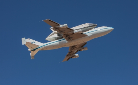 EL PASO – SEPTEMBER 20.  Space shuttle Endeavour, on top of NASAs 747, takes off from Biggs Airfield on September 20, 2012 at El Paso, Texas.
