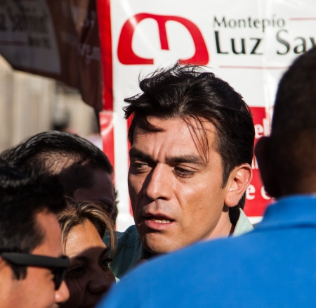 MEXICO CITY � OCTOBER 4:  Jorge Salinas, a Mexican TV and movie star, with his fans outside the Catedral de Mexico on October 4, 2012 in Mexico City, Mexico.