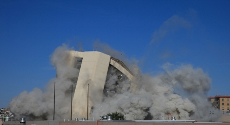 EL PASO, TEXAS – APRIL 14:  City Hall was imploded on Sunday morning before a large crowd, making way for the new AAA baseball stadium on April 14, 2013 in El Paso, Texas.