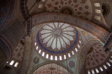 The ceiling of the Blue Mosque located in Istanbul, Turkey