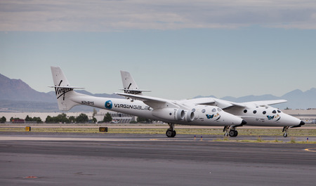 spaceport: EL PASO ? SEPTEMBER 11.  Virgin Galactic, the privately-funded space company owned by Sir Richard Branson?s Virgin Group, landed its White Knight Two spaceship at the El Paso International Airport for refueling on its way to Spaceport America on September