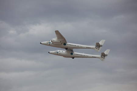 EL PASO ? SEPTEMBER 11.  Virgin Galactic, the privately-funded space company owned by Sir Richard Branson?s Virgin Group, landed its White Knight Two spaceship at the El Paso International Airport for refueling on its way to Spaceport America on September