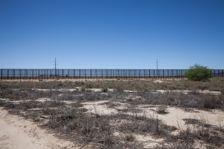 The border fence near El Paso Texas that separates the United States from Mexico