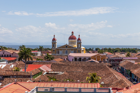 merced: View of Catedral de Granada from the bell tower of Iglesia de La Merced, Granada, Nicaragua, 3 Mar 2016