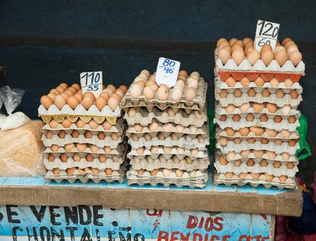 granada: Street selling of eggs in Granada, Nicaragua, 5 Mar 2016 Stock Photo