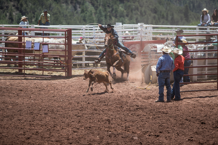 arena rodeo: Professional Rodeo at the Mescalero Apache Ceremonial & Rodeo grounds, Mescalero, New Mexico, America - 2 Jul 2016