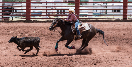 arena rodeo: 11 year old girl in the Professional Rodeo at the Mescalero Apache Ceremonial & Rodeo grounds, Mescalero, New Mexico, America - 2 Jul 2016
