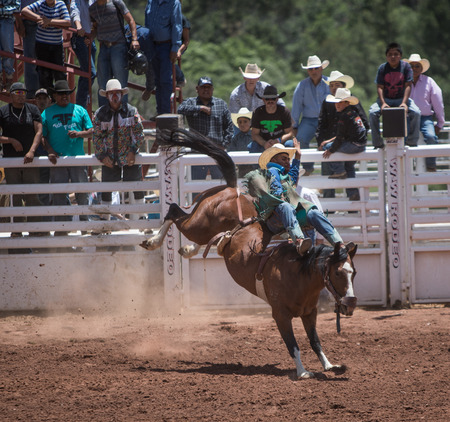 arena rodeo: Professional Rodeo at the Mescalero Apache Ceremonial & Rodeo grounds, Mescalero, New Mexico, America - 3 Jul 2016