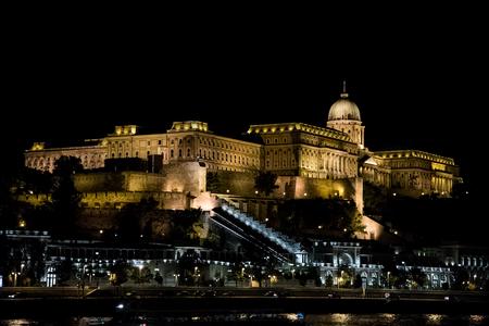 illuminated: Buda Castle illuminated at night, Budapest, Hungary Editorial