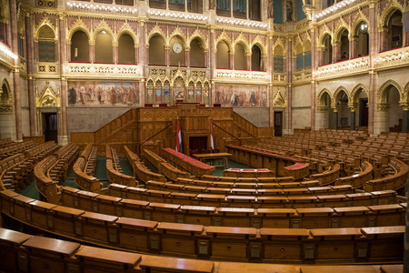 National Assembly Hall in the Hungarian Parliment, Budapest, Hungary Editorial