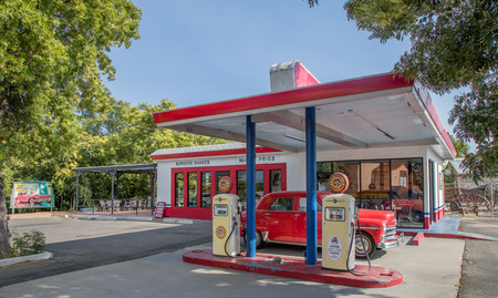 COTTONWOOD, AZ JULY 2.  A vintage gas station on display in the old city on July 2, 2017 at Cottonwood, AZ.