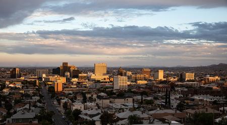 View of downtown El Paso, Texas at sundown Stock Photo