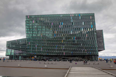REYKJAVIK, ICELAND – JUNE 27.  Harpa Concert Hall and Conference Center located in the Old Harbor in Reykjavik, Iceland – 27 June 2018