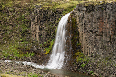 Háifoss Waterfall in the Highlands of Iceland Фото со стока