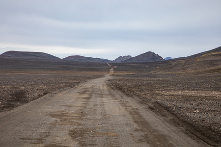 Gravel road on the way to Landmannalaugar in Iceland's Highlands