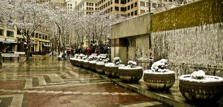 water feature: A snowy urban water feature, Seattle, WA Editorial
