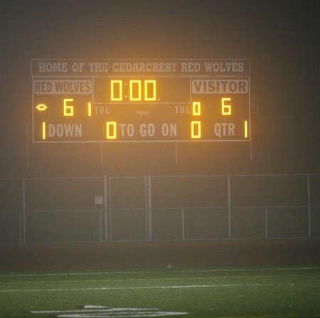 A foggy scoreboard.