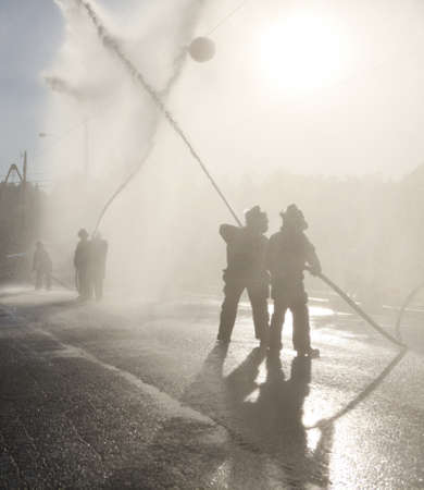 Firefighters Training, Playing Waterball. Redactioneel