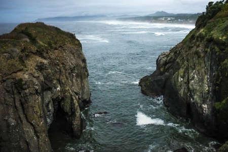 coastline: Pacific Ocean Coastline,Newport, Oregon Stock Photo