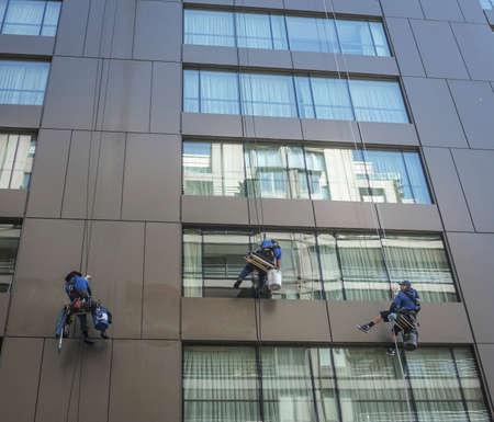 Tall building window washers.