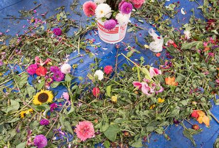 flower and greenery debris at a flower sale Reklamní fotografie