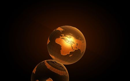 Earth 3D  for graphic designers in yellow Stock Photo - 6588018