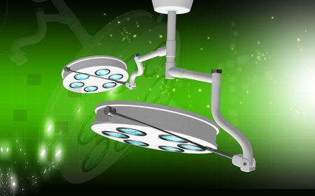 operative system: Digital illustration of  two surgical lamps in operation room Stock Photo