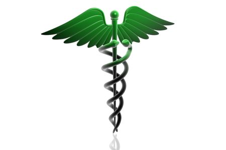 medical cross symbol: 3d generated illustration of Medical caduceus sign in green