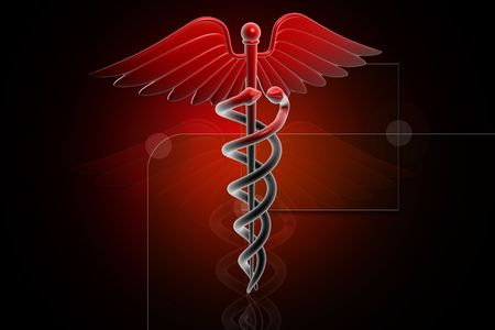 3d generated illustration of Medical caduceus sign in red on digital background illustration