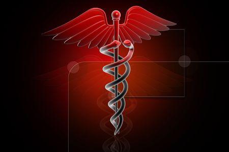esculapio: Ilustraci�n generada 3D del caduceo Medical signo en rojo sobre fondo digital  Foto de archivo