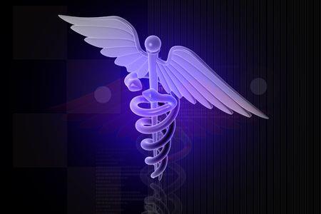 3d generated illustration of Medical caduceus sign in blue on digital background illustration