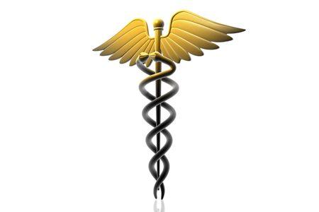 sceptre: Digital illustration of Medical caduceus sign in 3d