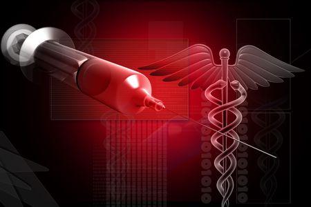 Digital illustration of MEDICAL CADUCEUS SIGN with syringe on digital background illustration