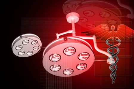 Digital illustration of Surgical light with MEDICAL CADUCEUS SIGN on red background  illustration