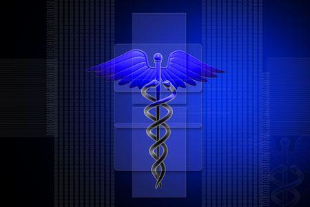 sceptre: Digital illustration of Medical caduceus sign in 3d on digital background