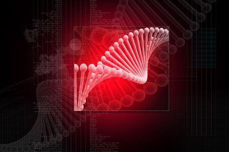 Digital illustration of dna structure in 3d on digital background Stock Illustration - 6756672