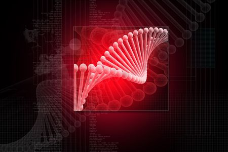 Digital illustration of dna structure in 3d on digital background Stock Illustration - 6756672